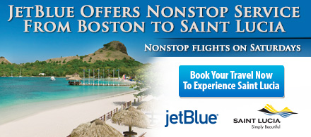 JetBlue offers nonstop service on Saturdays from Boston to Saint Lucia